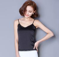 Wholesale Silk crepe satin plain satin sleeveless face silk camisole tops women bottoming women tanks