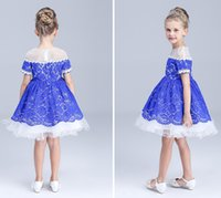 Wholesale 2016 Summer Childrens High Grade Embroidered Ball Gown Dress Girls American Style Short Sleeve Beaded Collar Princess Full Dress