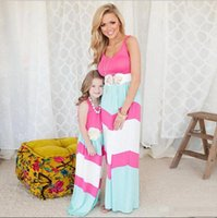 Wholesale 2016 Summer Mother Daughter Dress Striped Matching Mom Daughter Clothes Family Look Bohemian Style Family Clothing dropshipping