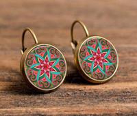 animal symbols buddhism - 18mm glass cabochon earrings mandala lotus earrings om symbol buddhism zen a pair henna yoga earring jewelry for women c e174