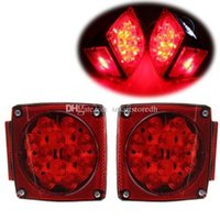 Wholesale Auto Parts One Pair LED Submersible Square Trailer Truck Tail Brake Light Under quot M00060 BARD