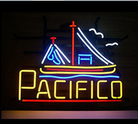 Wholesale New Pacifico Cerveza Sail Boat Neon Sign Handicrafted Real Glass Tube Neon Light Beer Lager Bar Pub Sign Multiple Size