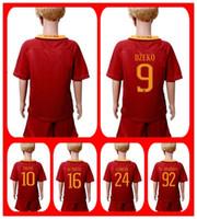 Wholesale Hot Sell Uniforms Kit Youth Kids Soccer Jersey Roma Florenzi Totti EL SHAARRWY Dzeko De Rossi Home Red Jerseys