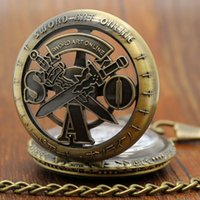 animations steel free - Antiique Sword Art Online Bronze Pocket Watch Japanese Animation Theme Fob Watch With Chain Gift