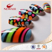 artistic nail designs - 2014 Brightly colored multi patterned five pointed star heart stripe design artistic pattern style printing nail art tips