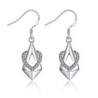 Wholesale 925 Silver Plated Geometric Earrings Fashion Jewelry with AAA Cubic Zirconia Women s Ear Cuff Love Heart Snow Tree Shape