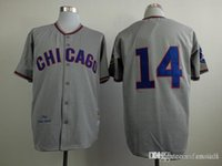 bank selling - 2016 New Men Baseball Jersey Chicago Cubs Ernie Banks Throwback Embroidery Grey Wool Flannel Top selling