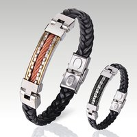 Wholesale New Fashion Men Fashion Stainless Steel Faux Leather Multitooth Weave Bracelet Cuff Bangle Good Quality