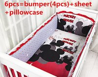 Wholesale Promotion Mickey Mouse Baby Cot Crib Bedding Set Baby Product Baby Bumper Sheet bumpers sheet pillow cover