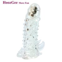 Cheap HoozGee Male Vibrating Penis Sleeves, Touch-type Penis Extension Condoms, Cock Sleeve Sex Products for Men Adult Sex Toys