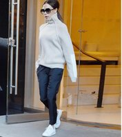 Wholesale Victoria Beckham sweater High collar wool Sweater Women Winter Thick Knitted Loose Pullover with Leather Patch Sleeve Jumpers needle sweater