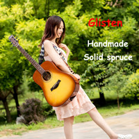 Wholesale Glisten acoustic guitar solid spruce top Custom Handmade inch acoustic electric guitar in stock Chinese guitars