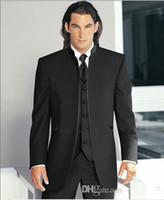 Wholesale Custom Made Groom Tuxedos new Styles Best Man Mandarin Peak Lapel Groomsmen Men s Wedding Suits Bridegroom Jacket Pants Tie Vest Z205