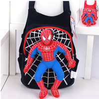 Wholesale Spiderman Backpack Children Baby Plush Toy Cartoon Double Shoulder Bag Pouch Boys Stylish Schoold Bag for Teenage New Arrival