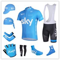 Breathable arm scarves - team BLUE SKY cycling jerseys short sleeve bib sets arms gloves legs caps scarf Shoes covers cycling socks