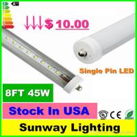 Wholesale Stock In US ft T8 led bulbs feet single pin LED Tube Lights W Lm LED Fluorescent Tube Lamps cool white V
