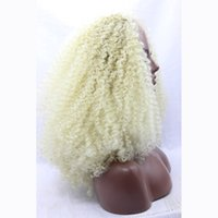 Wholesale Cheap High Quality Platinum Blonde Synthetic Lace Front Wig Heat Resistant Fashion Show Afro Kinky Curly Glueless Lace Wig For Women