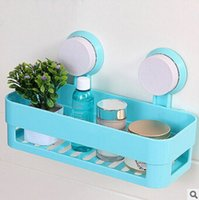 Wholesale Bathroom shelf storage rack rectangle strong sucker shelves wall mounted type storage rack kitchen commodity shelf with strong suction