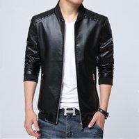 Wholesale Fall Men s Leather Jacket Autumn New M XL Plus Size Fashion PU Leather Man Coat Masculine Jacket Male Biker Jacket High Quality