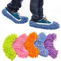 appliance covers - Multifunctional chenille shoes covers clean slippers lazy drag shoe mop caps
