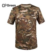 Wholesale Outdoor Summer Coolmax Tactical Camouflage T Shirt Men Breathable Quick Dry Army Training Combat T Shirt Sport Hunting Tshirt