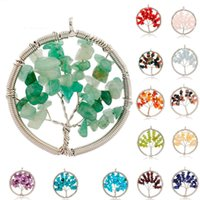 Wholesale Natural Crystal Quartz Gemstone Chakra Living Tree of Life Charms Handmade Natural Gemstone Chips Wire Wrap Stone Bead Pendant for Necklace