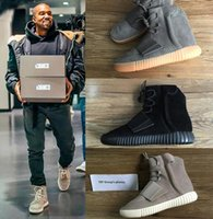 Wholesale TOP Boost Glow In The Dark Kanye West Leather Ankle Boots Men s Sport Running Shoes With receipt laces dust bags boxes