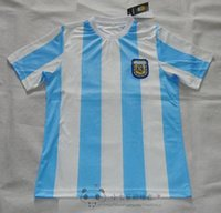 argentina soccer team messi - Mixed buy DHL Retro Version World Cup Argentina national team home Soccer jersey Messi Maradona CANIGGIA Top Thailand Quality F