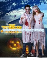online shopping Nurse Costume Men White - Carnival Halloween Bloody Awful Doctor Clothing Stage Performance Costume Blood Robe Stethoscope Ghost Costume bride dress