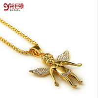 asian baby boys - Angel Series High Quality K real Gold plated Fly Boy Angel Baby Necklaces Pendants Hip Hop Pendants Micro cz Gold Necklace