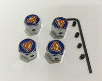 Wholesale 4pcs set superman pattern Metal Anti theft Style Car Wheel Tire Valves Tyre Dust Caps for all car