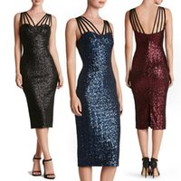 acrylic wedding columns - Fashion Women Full Sequins Halter Evening Party Wedding Cocktail Knee Length Dress Colors S XL