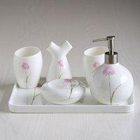 Wholesale European simple ceramic five piece bathroom bathroom suite bathroom products wash gargle cup set