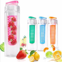Wholesale Sport Tritan Solid Fruit Infuser Water Bottle Flip Top Lid Tritan Cup oz ml Many Color Option