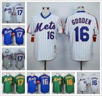Wholesale Mens New York Mets Keith Hernandez Dwight Gooden Jersey White Blue Green Gray NY Mets Throwback Baseball Jerseys