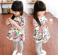 american printing ink - Children s clothing new girls ink petal printing long sleeved baby shirt Qunshan