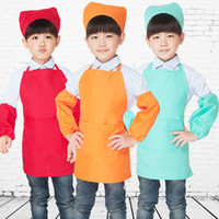 Wholesale Pure Purple Coffee Blue Light Green Light Coffee Green Color kids Chef Hats and Aprons for Kitchen Cooking Kindergarten Playing Painting