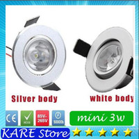 Cheap 20*real power LED Recessed Downlight 3W LED white silver body LED cabinet lights mini led downlight ceiling lamp 85-265V with power driver