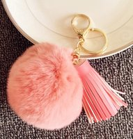 Wholesale Popular Key Rings Rabbit Fur Ball Keychain Gift Genuine Rabbit Fur Pendant Phone Tassel Fur Pom pom Accessory DHL free colors