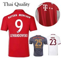 Wholesale 2016 Thai quality Bayern Munich Soccer Jerseys LEWANDOWSKI uniform MULLER ROBBEN COSTA Home away rd kit survetement Football shirts