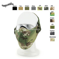 Wholesale Outdoor Airsoft Paintball Shooting Gear Half Face Protection Tactical D Nylon Waterproof Fabric Camouflage Airsoft Mask