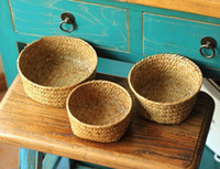 bamboo basket - Round Seaweed basket handmade storage box sundries storage baskets high quality sea grass box home decoration household box