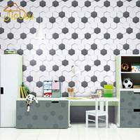 Wholesale Modern Simple Non woven Black White Geometric Pattern Hexagonal Honeycomb Wallpaper Living room TV Sofa Background Wall Covering