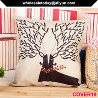 Wholesale the lost elk Milu embroidery waist cushion cover Moose style Male Dear Linen pillow cover accessory factory price cheap x45cm