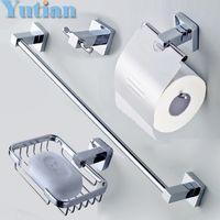 bar soap holders - Stainless Steel Bathroom Accessories Set Robe hook Paper Holder Towel Bar Soap basket bathroom sets YT B