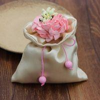 Wholesale Web favor box web favor bag satin wedding gift bags beige candy bags