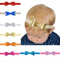 babies parenting - Headbands For Girls Pearl Baby Girls elastic hair bow ties Baby Golden leaves Parenting Sequins Accessproes Sparkle Glitter headwraps