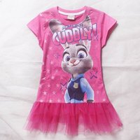 Wholesale 2016 New Summer Zootopia Children Kids Girls Dress Baby Girls Tulle Princess Dresses Girls Party Dresses Hot Pink Big Girls Dresses
