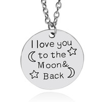 american china manufacturers - I love You To The Moon Back necklace quote letter Star and moon hand stamped Necklace Pendants For Lover china manufacturer