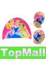 Wholesale LAI Cartoon Cute Children Swimming Caps Lycra Boys Girls Swimming Swim Cap Hats Suitable for under years old Kids Bathing Caps